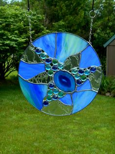 Round Abstract Stained Glass  Blue and Aqua Sun Catcher with Agate by WildheartGlassDesign on Etsy