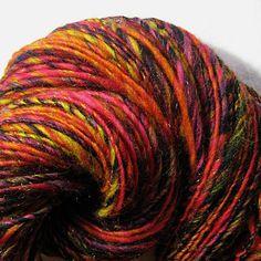 Handspun Art Yarn Thick and Thin Single 'Volcanic'