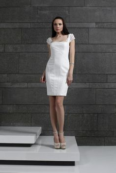 Tony Ward RTW Fall 2014 Style 23 I Short fitted Off White cocktail dress in Moroccan Crepe mixed with Lace and embellished with wires, featuring embroidered cap sleeves