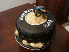 Monster Truck Tire Cake (by murnahan) Monster Jam Cake, Monster Truck Birthday Cake, Tire Cake, Wheel Cake, First Birthday Cakes, Birthday Ideas, Car Birthday, Truck Cakes, Birthday Cake Decorating