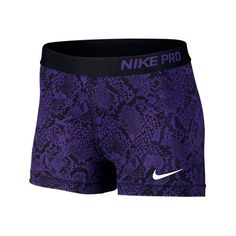 Nike Women's 3 Inch Pro Core Compression Shorts ($17) ❤ liked on Polyvore featuring activewear, activewear shorts, shorts, bottoms, nike, purple, nike activewear and nike sportswear