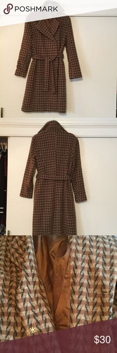 Wool blend gorgeous coat. Super nice coat, wool blend, satin lining, snaps and a bell. No pockets for a smooth look. E third picture shows the fabric pattern.😍 Jackets & Coats Trench Coats