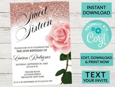Sweet 16 Invitation, Rose Gold Glitter Sparkle | Digital INSTANT DOWNLOAD Editable Invite, Quinceanera, Rose Invitation, Printable Birthday by PurplePaperGraphics on Etsy Sweet 16 Invitations, Engagement Party Invitations, Digital Invitations, Printable Invitations, I Do Bbq, Sweet 16 Parties, Photo Center, Rose Gold Glitter, 16th Birthday