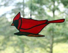 Kardinaal gebrandschilderd glas Suncatcher vogel door BerlinGlass