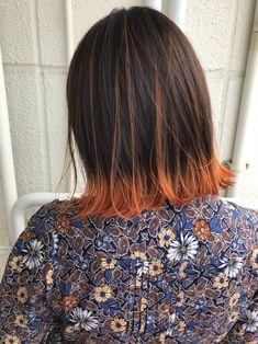 カラーハイライト オレンジ Coral Hair, Pink Ombre Hair, Dip Dye Hair, Dye My Hair, Hair Dyed Underneath, Girl Hair Colors, Hair Magazine, Coloured Hair, Aesthetic Hair