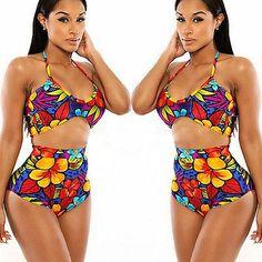 Floral High Waist Bikini Set Push-Up Bra Swimsuit Beachwear Swimwear  https://www.stylishntrendier.com/