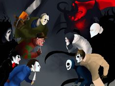characters that are in this picture LEFT SIDE. -Jason Voorhees -Freddy krueger -Michael myers -scream -jigsaw billy -==--=-=-==- RIGHT SIDE. -Jeff the killer -Eyeless jack -Masky -Slender man -Zalgo