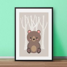 Scandinavian nursery print. Mr Bear - part of the Woodlands Animals set. Perfect for the nursery or childs bedroom. In soft and soothing colours, this print will brighten any little persons room.   MY PRINTS  All of my prints are designed inhouse so if you require a different colour or alteration please just send me a convo and I will be more than happy to make any small change free of charge. Larger, more time consuming changes will require an additional charge which I will be happy to…
