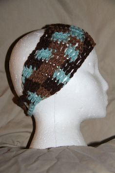 Unisex Teen/Adult headband earwarmer - fits most - aqua blue & browns - fabulous #homemade #earwamerheadband #pmscrafts74
