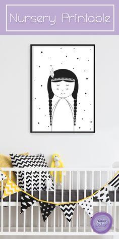 Boho Nursery Decor, Nursery Print, Boho Nursery, Printable Art, baby Shower Gift, Black and White, Girl Nursery Decor, Digital Download