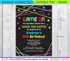 Laser tag free printables laser tag invitations printable free laser tag invitation laser tag birthday by tinyconfetti on etsy filmwisefo Images