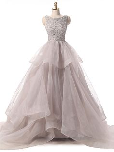 Formal Evening Dress Ball Gown Scoop Court Train Organza with Sequins…