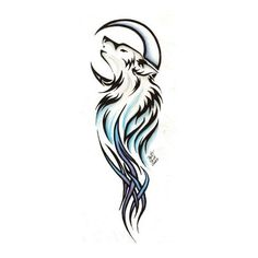 Moon And Tribal Wolf Tattoo Design ❤ liked on Polyvore featuring accessories, body art, tattoos and backgrounds