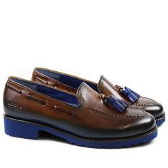 Kelly 7 Damen Loafer braunes Leder blaue Quasten