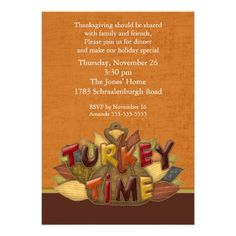 Turkey Time Thanksgiving Dinner Invitation