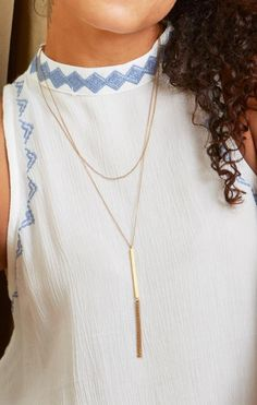 Repurposed Bombshell Brass Necklace // Vertical Bar // Minimalist // Tassle // Fair Trade // Slow Fashion // Ethical Jewelry