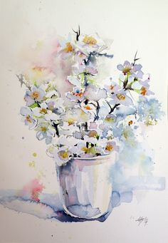 ARTFINDER: White flowers by Kovács Anna Brigitta - Original watercolour painting on high quality watercolour paper. I love landscapes, still life, nature and wildlife, lights and shadows, colorful sight. Thes...