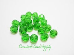 20 Green Crystal Round Beads Disco 8mm 4254 by OverstockBeadSupply, $2.25