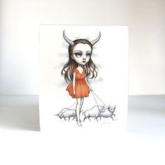 Taurus Zodiac Girl signed 8x10 pop surrealism | mabgraves