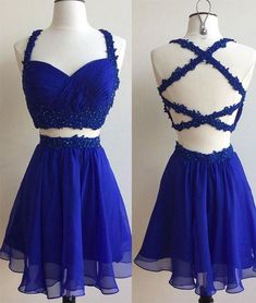 Blue two pieces lace short prom dress for teens, cute homecoming dress, blue dress