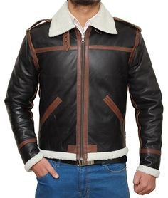 Resident Evil 4 Leon Kennedy Shearling Brown Real Leather Jacket at Amazon Men's Clothing store: