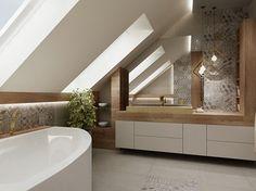 Łazienka ze skosami - Średnia łazienka na poddaszu jako domowe spa z oknem, styl nowoczesny - zdjęcie od All Design Agnieszka Lorenc