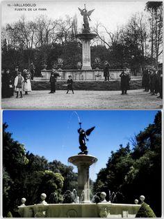 FUENTE DE LA FAMA emplazada en el Campo Grande...La figura de la Fama es obra del escultor Mariano Chicote Recio y la fundición de la escultura fue realizada en los talleres López y Cía....  http://es.wikipedia.org/wiki/Parque_del_Campo_Grande#Fuente_de_la_Fama