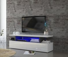 Modern C, TV Cabinet in White Gloss/Grey Report Finish With Lights
