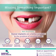 Missing Something Important? Not Anymore, #DentalImplants are a better solution to the problem of missing teeth!   Book your Appointment at Shreyas Dental Hospital: 📞 +91-9712994608 | 🌐 www.shreyasdental.in  #DentalImplantInAhmedabad #TeethIn3Days