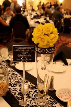 Black and white wedding with yellow accents