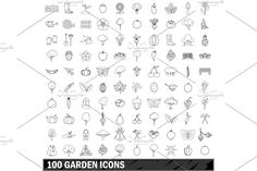 Icon Set, Simple Style, Outline, The 100, Print Design, Design Inspiration, Natural Products, Illustration, Nature