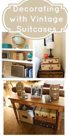 Decorating with Vintage Suitcases . Use for extra storage, antique decor vintage collection- 2 Bees in a Pod
