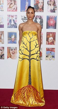 Rooted: Zawe Ashton chose this stunning gown with a tree design...