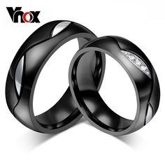 Anillo de bodas para el amante pareja cz vnox negro anillo de acero inoxidable 316l joyas de compromiso