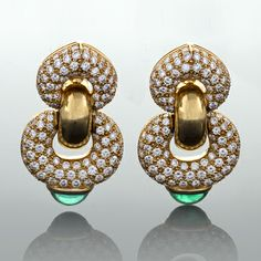 Bulgari Diamond, Emerald and Gold Ear Pendants.  Circa 1980's.   Available exclusively at Macklowe Gallery.