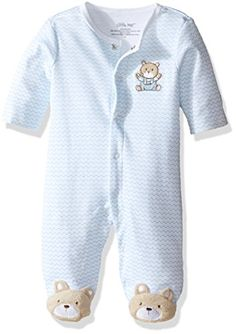 Little Me Baby Boys Chevron Teddy Bear Footie Light Blue 3 Months ** Read more at the image link. (This is an affiliate link) #LatestBabyClothes