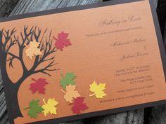 homemade invitations  bridal shower- orange black with purple leaves Shower Orange, Homemade Invitations, Cool Birthday Cards, Diy Birthday, Happy Birthday, Wedding Shower Invitations, Invites, Fall Wedding, Wedding Ideas