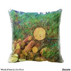 Wood of tree throw pillows