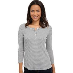 LAmade Brit Thermal Henley Women's Long Sleeve Button Up, Gray ($38) ❤ liked on Polyvore featuring tops, grey, stripe 3/4 sleeve top, grey top, 3/4 length sleeve tops, lamade and striped long sleeve top