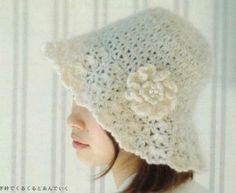 White Hat with Flower and Pearls free crochet graph pattern Crochet Adult Hat, Crochet Beret, Crochet Cap, Love Crochet, Crochet Flowers, Knitted Hats, Crochet Tools, Crochet Crafts, Crochet Projects