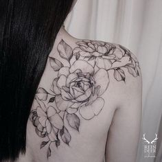 Shoulder & Back Roses Tattoo. 30+ Beautiful Flower Tattoo Designs.