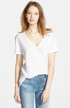 Madewell Whisper' Cotton V-Neck Pocket Tee