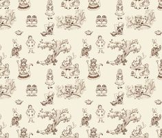 alice in wonderland toile fabric by mytinystar on Spoonflower - custom fabric