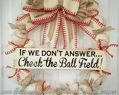 Batter Up!!!! Theres no better fit for Summer, like apple pie, picnics, and sunny days, than this awesome baseball wreath!! Perfect for avid fans, parents with kids playin ball, or just to add a touch of All American to your front door! Made with REAL BASEBALLS that are stained to look like theyve been thrown around on an old sand lot!! The quality and character of this wreath is absolutely incomparable! And, this wreath is THE ORIGINAL wreath with the Check the Ballfield sign done in this…