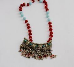 tribal necklace, choker with old Afghan fringes pendant, carnelian and turquoise glass beads, upcycled ethnic, statement necklace OOAK by MICETTESGARDEN on Etsy