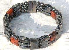 Men/'s Womens Red Poppy Jasper Magnetic Healing Bracelet Anklet Circulation 2 Row