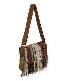 Look what I found on #zulily! Brown & White Fringe Crossbody Bag by Catori #zulilyfinds