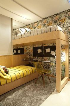 Boy's bedroom for small spaces Small Rooms, Small Apartments, Small Spaces, Kids Rooms, Bunk Rooms, Bunk Beds, New Room, Home Interior Design, Interior Shop