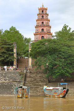 Pagoda along the perfume river in Hué, Vietnam