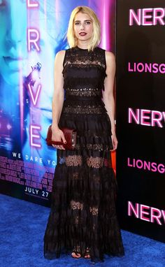 Emma Roberts slayed in a lace Elie Saab gown at the NYC premiere of her new film, Nerve. See the pics!